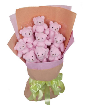 9 teddy bear bouquet