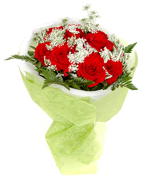 11 red roses, with green leaves