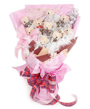 9 small teddy bears