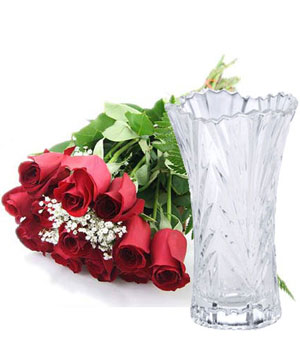 a dozen red roses free with a vase