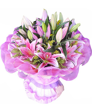 pink perfume lilies China flowers bouquet