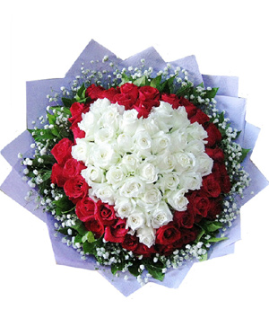 Heart-shaped 66 Roses bouquet - China delivery
