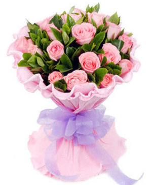 Hong Kiss, send 19 pink roses bouquet