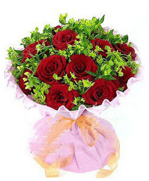 12 red roses, with green leaves