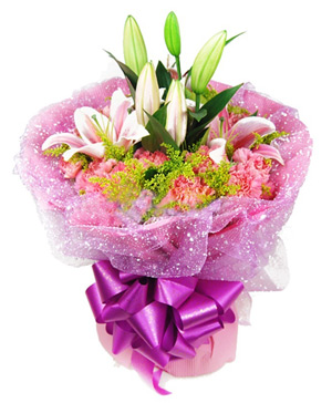 pink carnations & lilies delivered to China