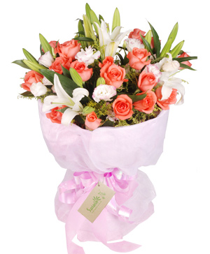 Pink roses and lilies bouquet China