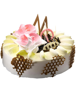 milk cake with chocolate and flower cream