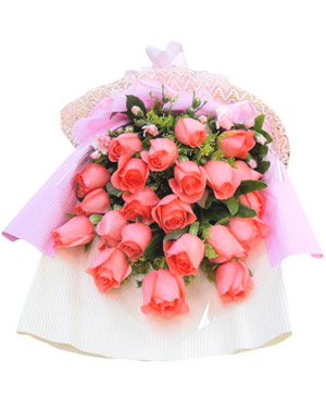 Twenty-two pink roses