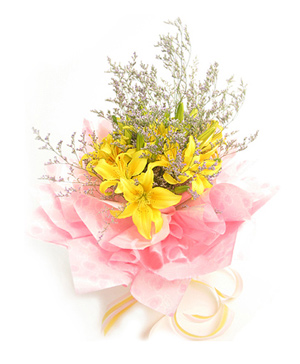 7 yellow lilies bouquet delivery in China