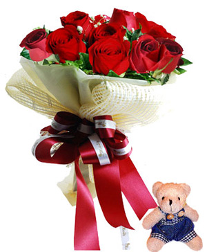 Two dozen roses mini teddy bear bouquet