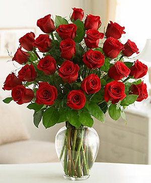 Two Dozen Roses in a Vase
