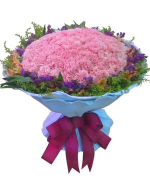ninety-nine pink carnations bouquet