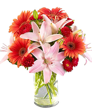 Lilies and gerberas in a vase to China
