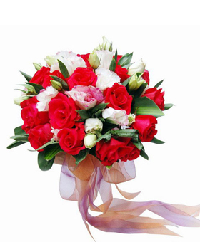 16 red roses, 10 white citrus