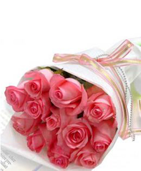 Miss you - 12 pink roses, round packaging