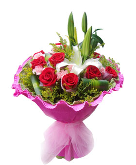 A great love - 12 red roses, 16 pink carnations