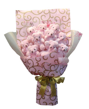 11 pink little bears bouquet
